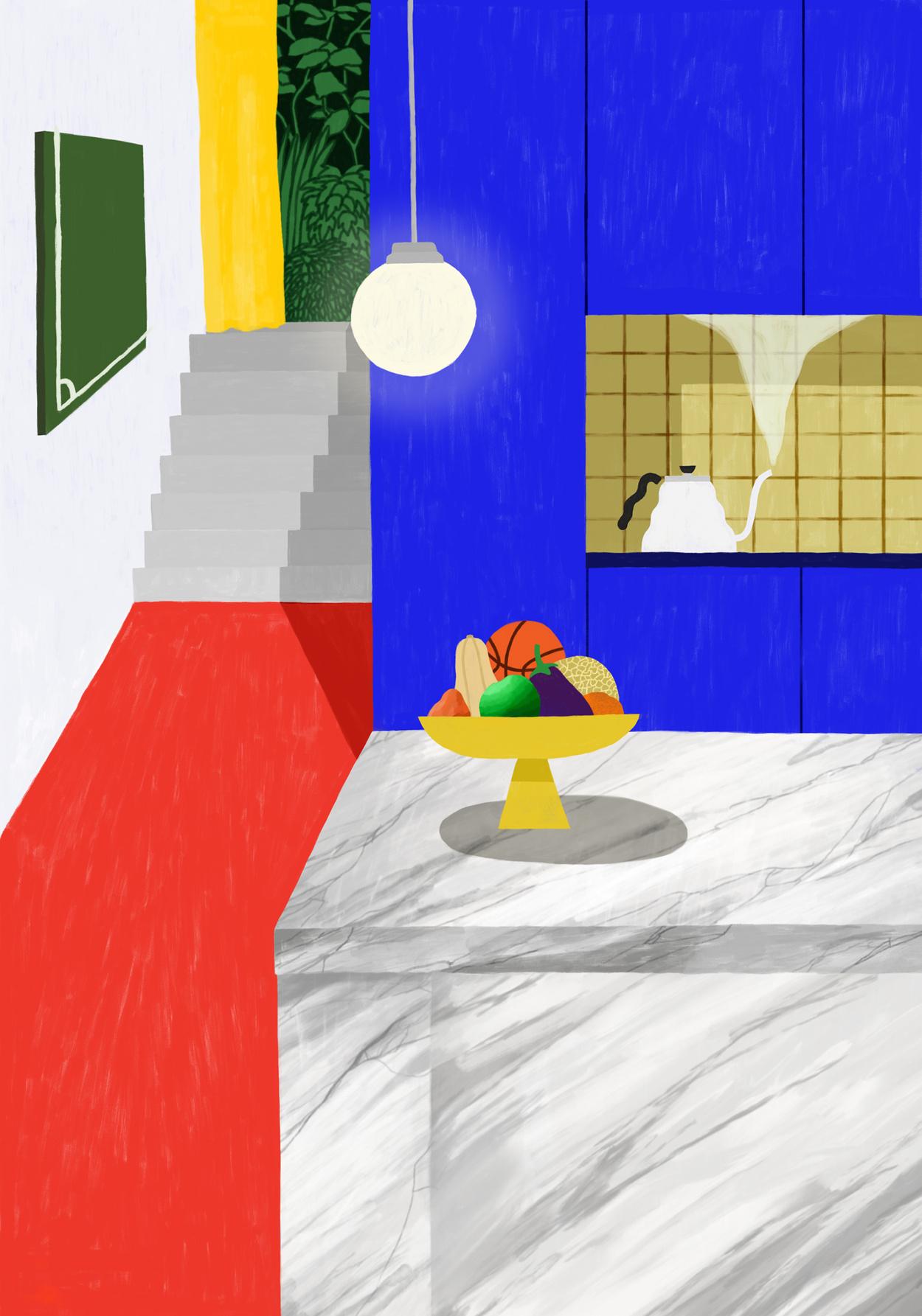 Illustrator Maaike Canne - Elle Decoration, kitchen special