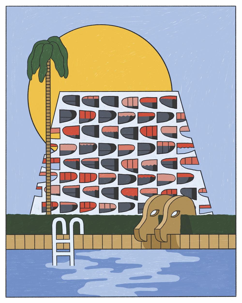 Illustrator Maaike Canne - Kibilind Magazine, Resort Corbusier
